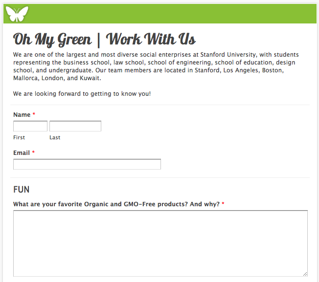 Oh My Green's job application form