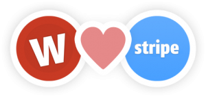 Wufoo logo and Stripe logo joined together by a heart