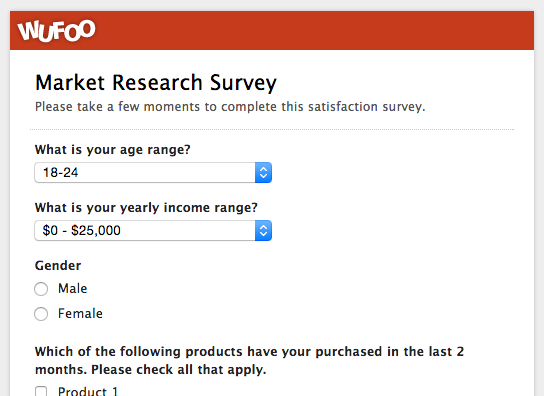 An example of a market research survey made with Wufoo
