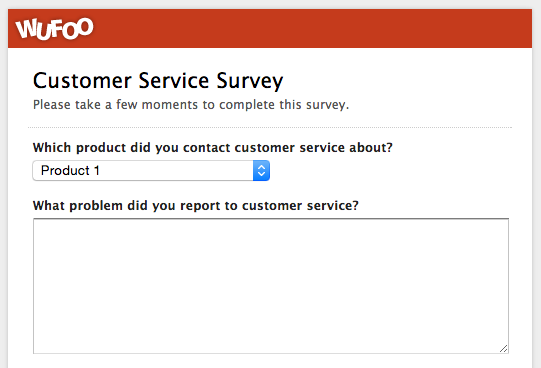 An example of a customer service survey made with Wufoo