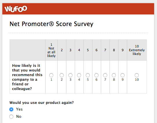 An example of a Net Promoter Score® survey made with Wufoo