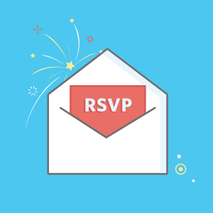 An RSVP note sticking out of an envelope.