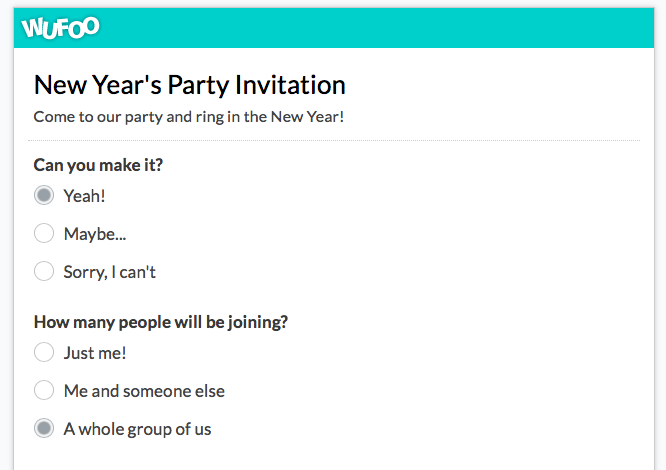 New Year's party invitation form template by Wufoo