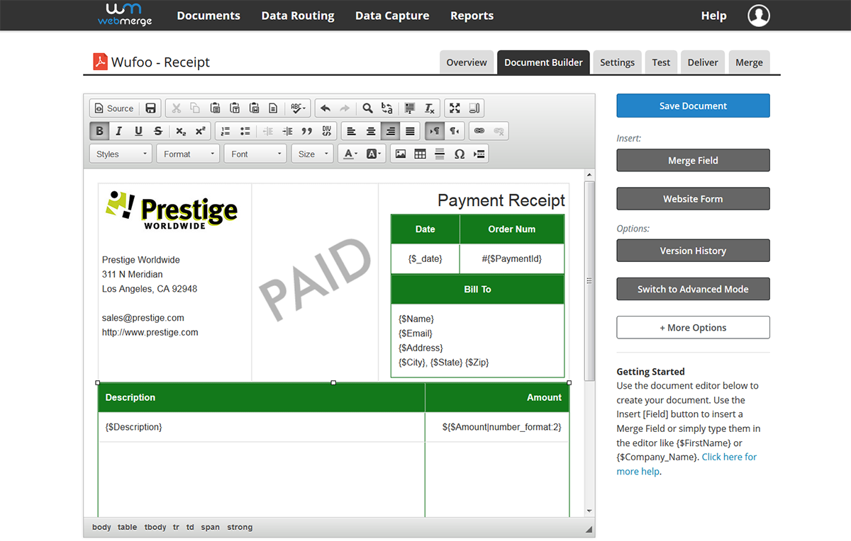 Instantly Populate PDF Receipts from Wufoo Order Forms | Wufoo