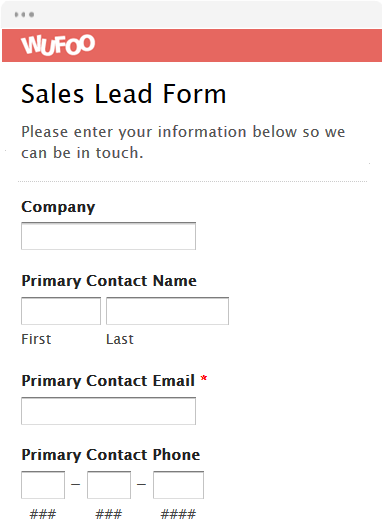 lead generation form templates wufoo