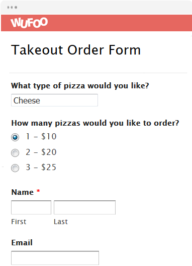 Online order form templates wufoo for Pizza order form template