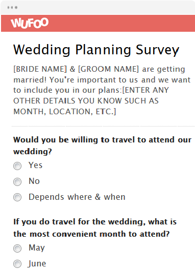 Template Preview View Use Wedding Planning Survey