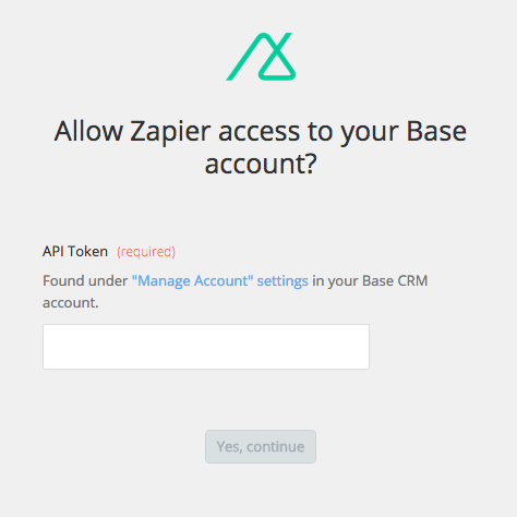 Zapier Base CRM account select