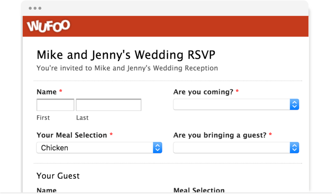 Wufoo Wedding RSVP