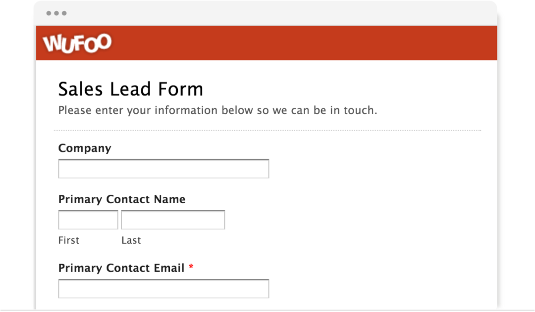 Wufoo Sales Lead Form
