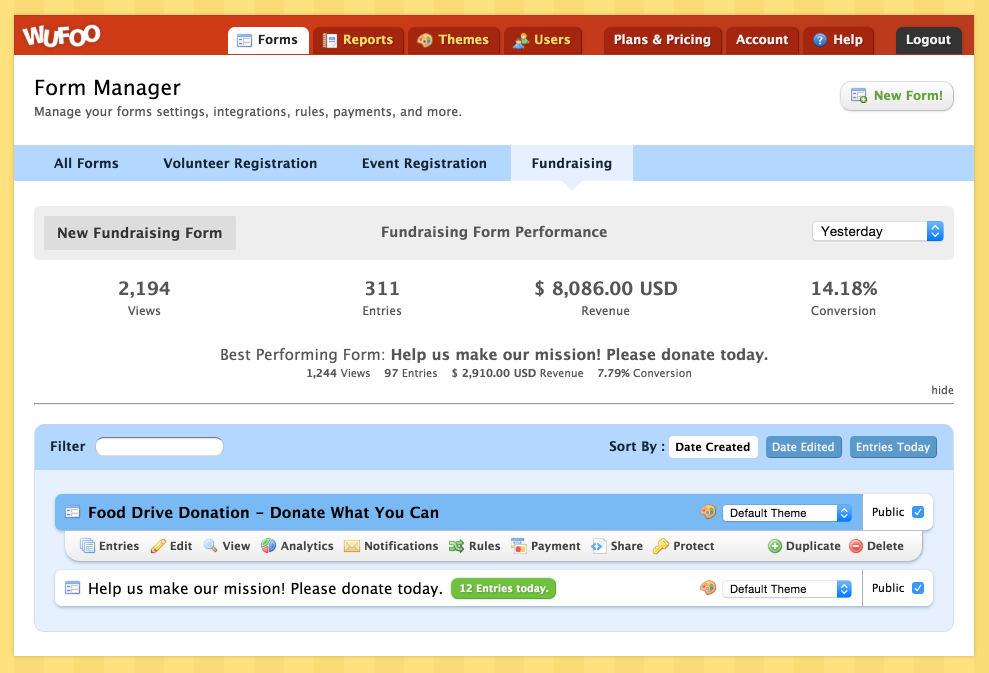 wufoo online fundraising