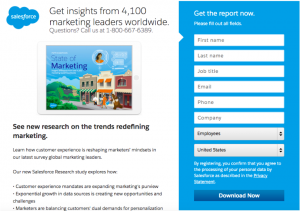 Landing page for a report from Salesforce