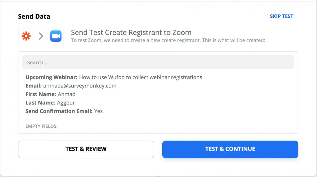 Wufoo Zapier Integration Test
