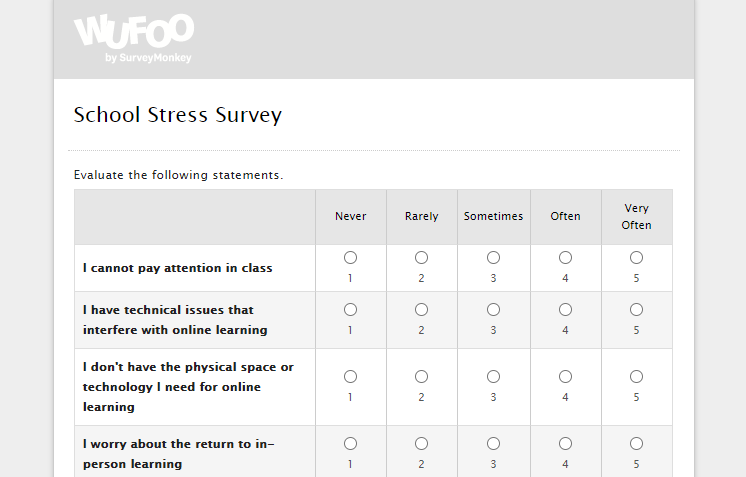 COVID school stress survey for students