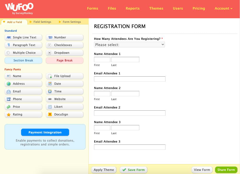 wufoo registration form 2