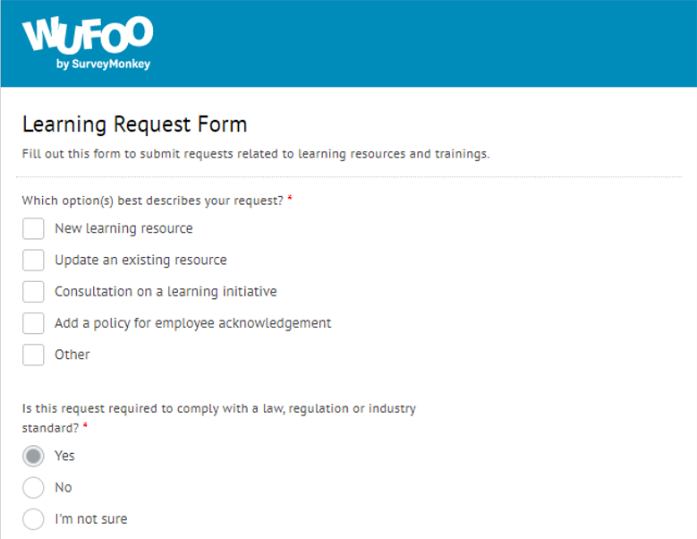 wufoo learning request form