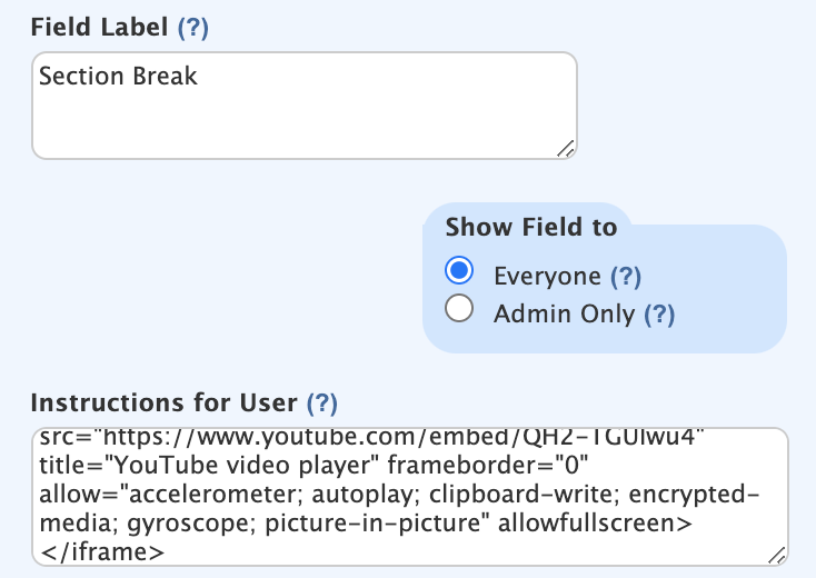 Adding video to section break - Wufoo